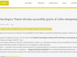 L'Istituto Oncologico Veneto diventa accessibile grazie al video-interpretariato in LIS