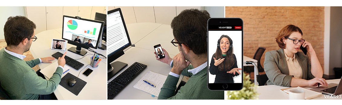 Video call tra colleghi sordi e udenti con interprete LIS